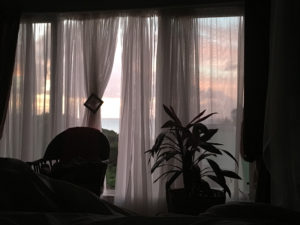 Looking at dawn through the bedroom windows at Villa Caribella.